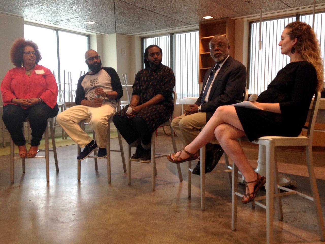 Panelists Susan Owusu, Jabari Asim, Terry Marshall, Ted Landsmark, and Laura Amico